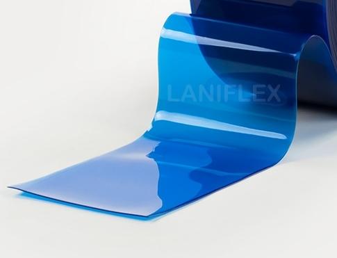 pvc souple transparent coloré bleu