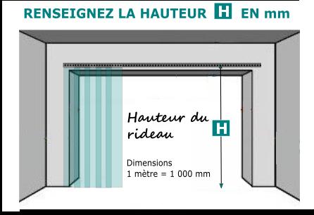 La hauteur du rideau à lanières PVC souple